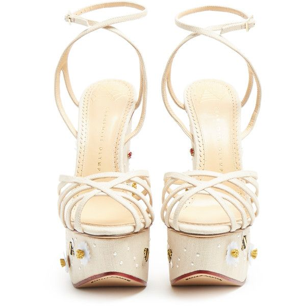 Charlotte Olympia Floral Meredith linen wedge sandals ($1,440) ❤ liked on Polyvore featuring shoes, sandals, white wedge shoes, nude wedge shoes, wedge sandals, wedge shoes and white platform sandals