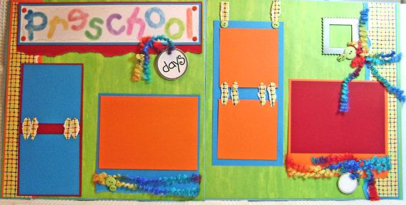 Scrapbook Premade Pages Preschool Layout  by kitsnbitscraps on Etsy... Sooo Cute