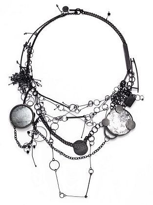 Necklace | DOERTHE FUCHS-DE.. Oxidized silver, Hematite and mirror glass