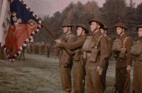 Standard passing to Czechoslovak 1-st. Infantry Battalion, Great Britain, 1940