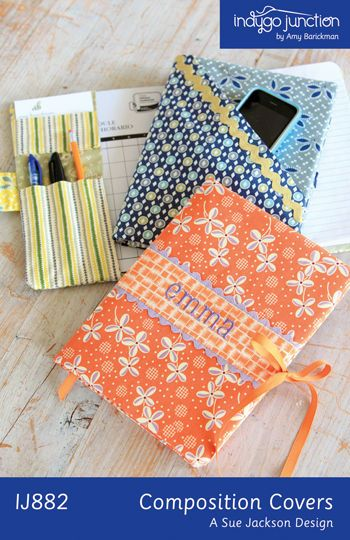 Composition book cover pattern.  This pattern is available from The Vintage Workshop.  This would be such a nice gift for any age girl.