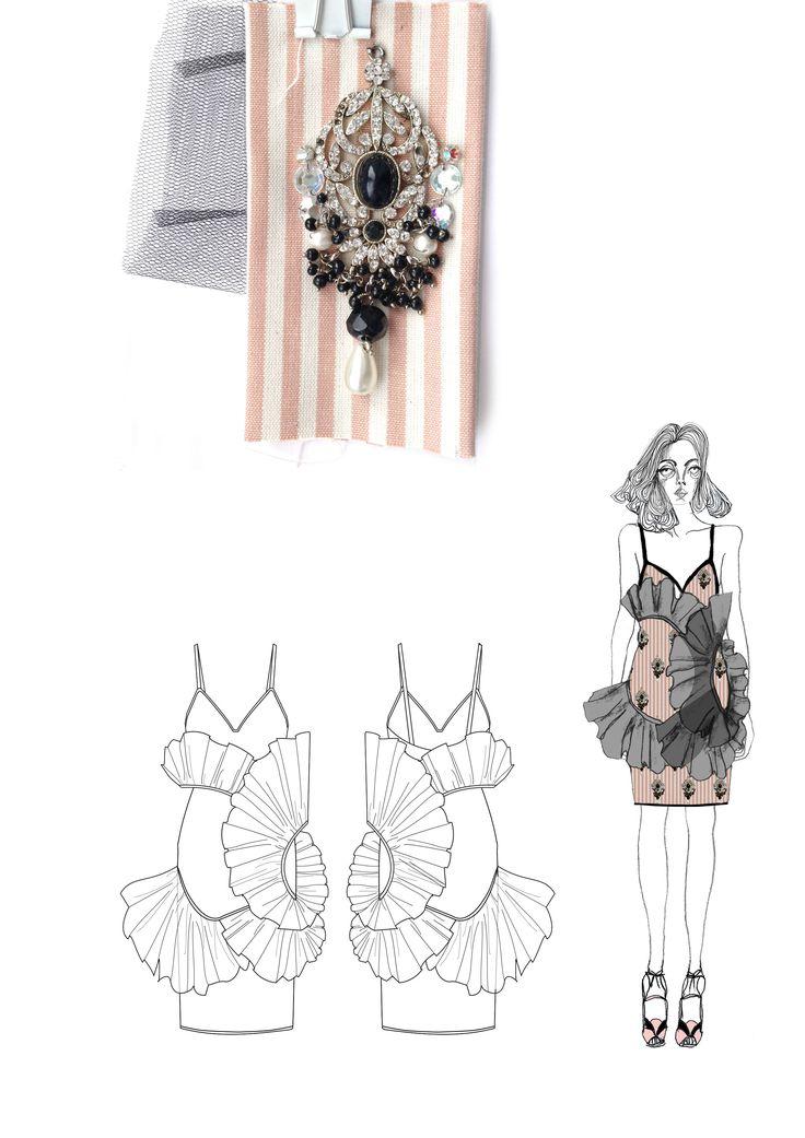 Fashion Sketchbook; fashion drawings & fabrics for Miu Miu project; fashion portfolio // Giryung Kim