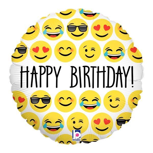"Emoji Balloon - 18"" Foil Mylar - Happy Birthday"