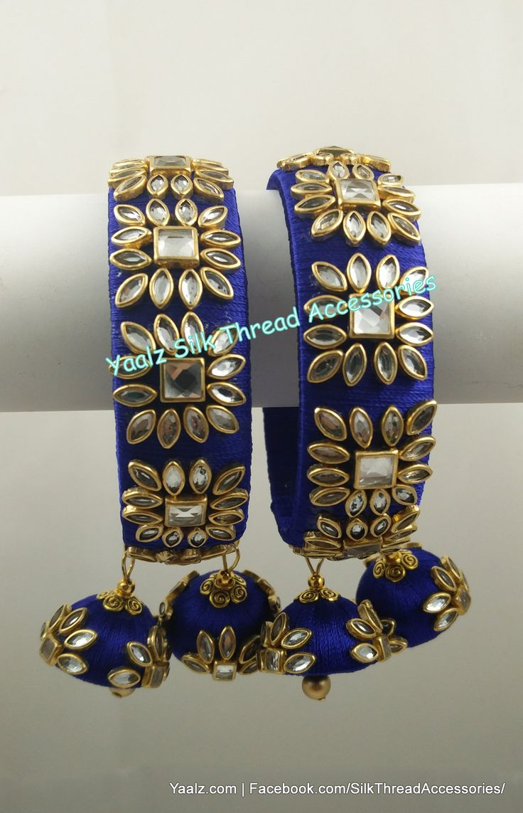 Yaalz Kundan Stone Work Bangle Set In Royal Blue Color !! Price Rs.700 Per Pair For Orders Ping us In WhatsApp +91 8754032250