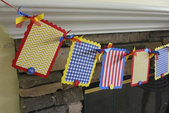 First Year Banner Red, Blue and Yellow, Circus First Year, Charlie Brown First Year, Primary Color First Year - photo banner