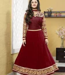 Buy New Designer Georgette Maroon Neck Designer Anarkali Suit semi-stitched-salwar-suit online