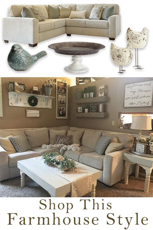 Chic and laid-back is what @thebannergirls living room is all about. The Salonne sectional helps to make this room a natural rustic farmhouse dream.