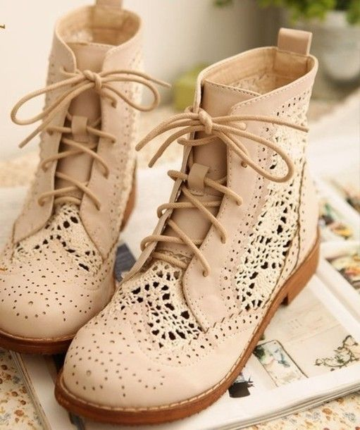 shoes boots cream lace camel beautiful cute vintage lace shoes brown shoes  dope spring combat boots