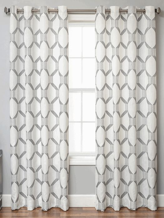 Dylan Linen Style Curtains With Embroidery Stitch Geometric Tile Design In  Standard And Ready Made Sizes In Extra Long Inch And Inches Length, ... Part 54