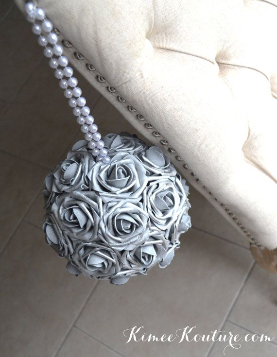 SILVER Flower Ball with PEARL handle. Silver by KimeeKouture