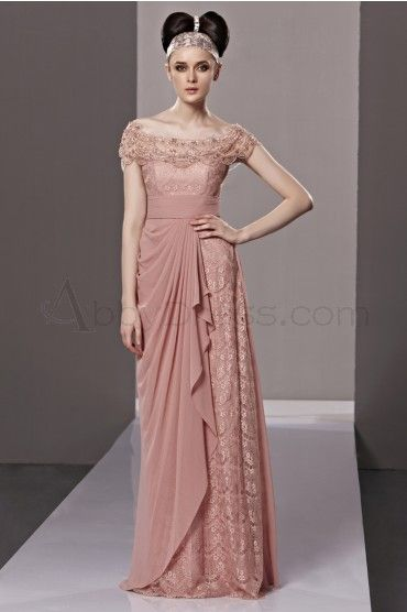 Luxury Scoop Short Sleeve Stretch satin Evening Dresses Pink