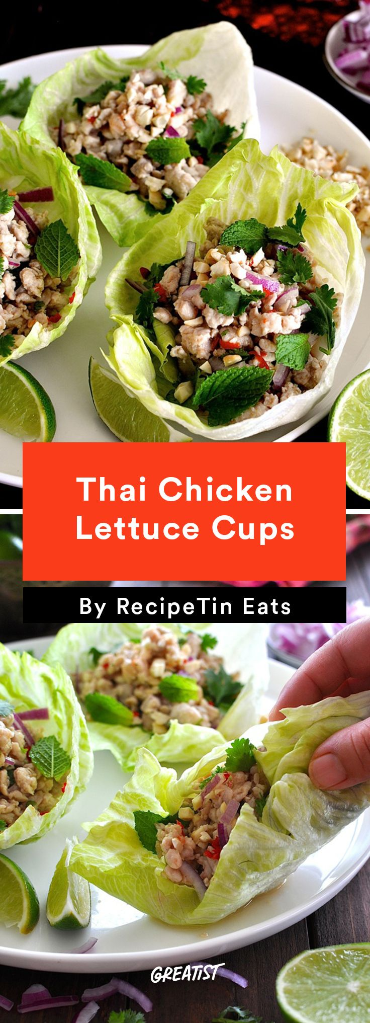 3. Thai Chicken Lettuce Cups #healthy #chicken #recipes http://greatist.com/eat/easy-chicken-recipes-that-are-tasty-af