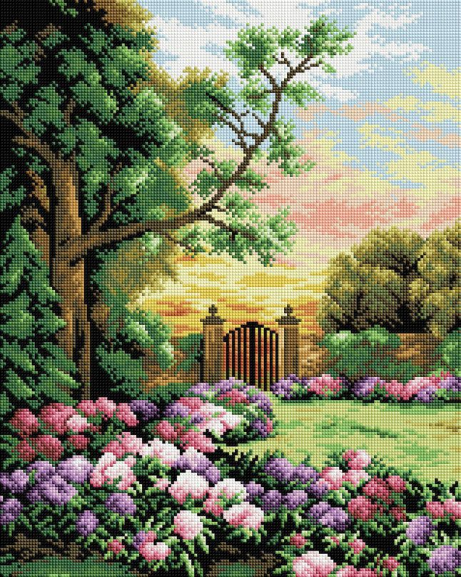 Набор Белоснежка для изготовления картин со стразами на подрамнике арт.БЛ.190-ST-S Сад цветов 40х50см