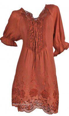 Pretty Angel Clothing Prairie Dress Tunic In Rust Women