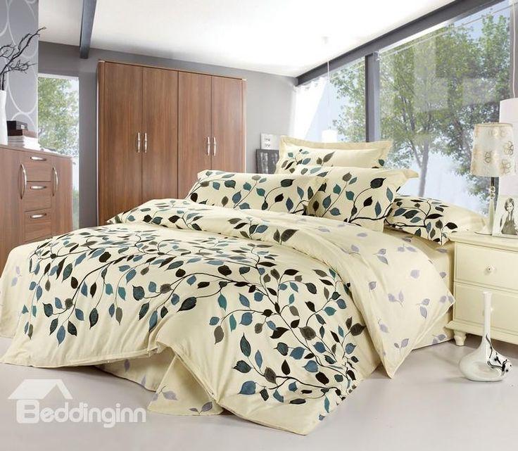 $ 49.69 Graceful Leaves 100% Cotton Drill 4 Piece Light Beige Bedding Sets www.beddinginn.com