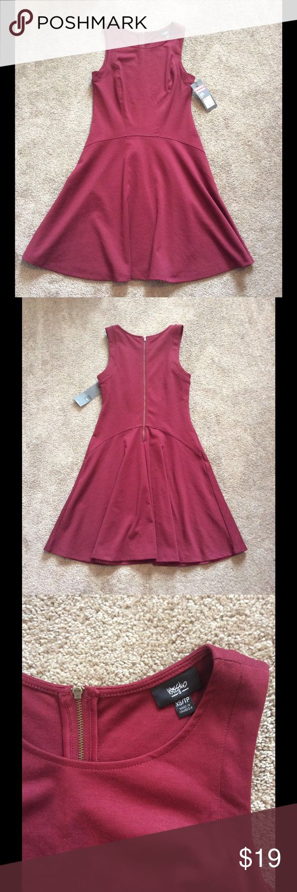 ⚡️SALE⚡️NWT Mossimo Maroon Skater Dress NWT Mossimo Maroon Skater Dress with back Zipper detail, Size XS Mossimo Supply Co. Dresses