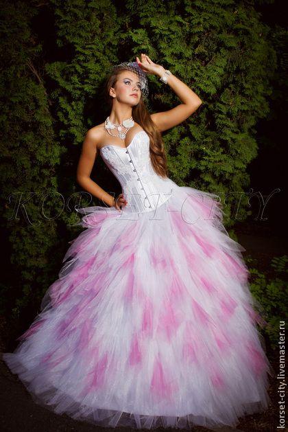 """Свадебная юбка """"Аэлита"""" бело-розовые лепестки. Handmade."""