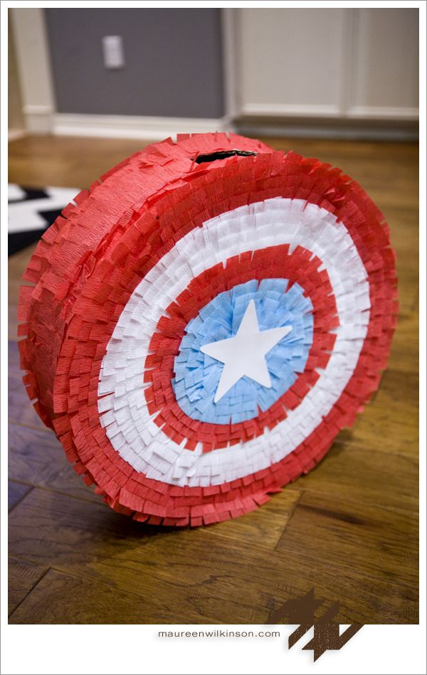 Captain America Shield- use other tutorial but use crepe paper like this