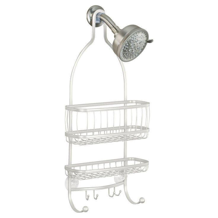 The InterDesign York Lyra Shower Caddy brings classic American style to your shower space. The contemporary design will look great in your bathroom.  With 2 large shelves to accommodate larger bottles, and 4 hooks, you will have plenty of storage space. Two suction cups provide non-slip grip that keeps your caddy in place. Durable rust-resistant finish. Available in four ThermoBond coating finishes- Silver, Bronze, Pearl White, and Satin.