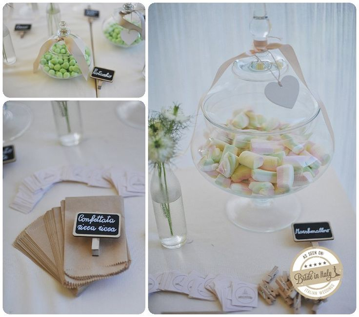Rustic chic candy bar with small chaklboards and marshmallows. ph by L&V Photography http://www.brideinitaly.com/2013/09/landvkm0.html #italian #wedding