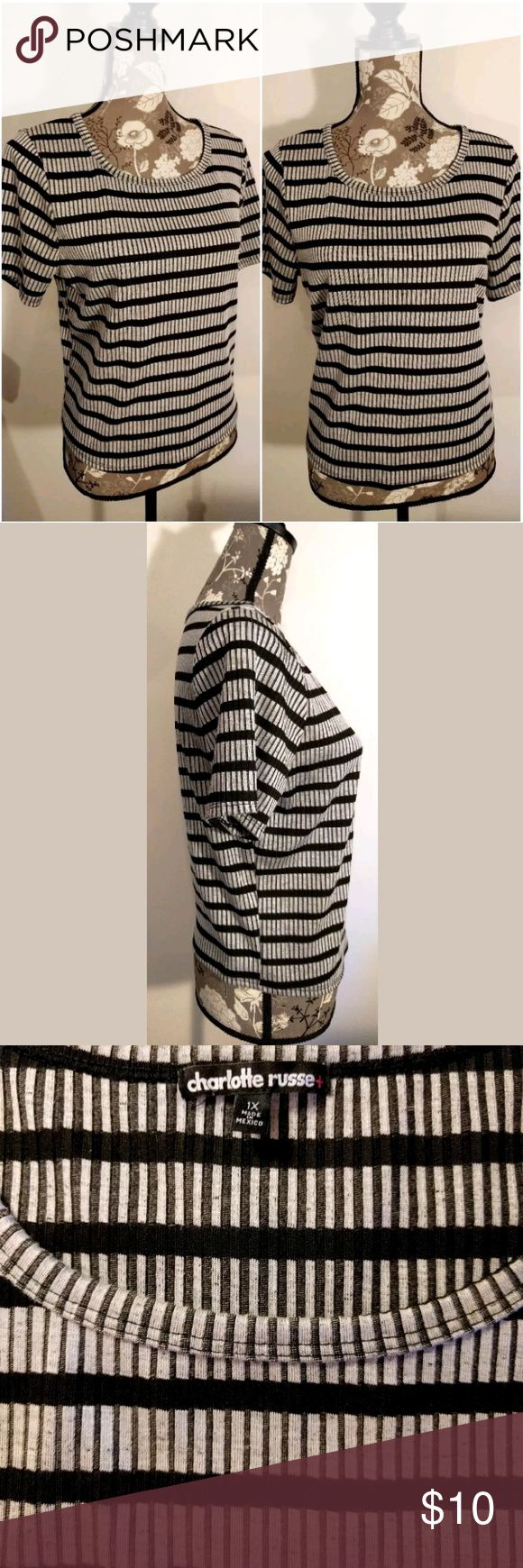 Charlotte Russe Striped Top or Shirt  Short Sleeve Charlotte Russe Top or Shirt  Short Sleeve  Stripes Black Gray  Pullover  Plus Size 1X  Nice Career Piece with Black Slacks or Capris and a Sweater/Blazer  SMOKE FREE HOME Charlotte Russe Tops