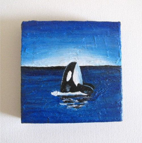 Curious Orca, Mini Canvas Original Painting, 4 x 4 inches, Textured, Ocean Sea Whale Marine Art
