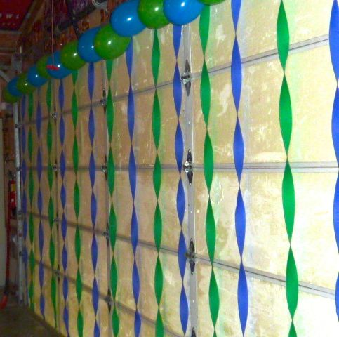 This was a fun and easy way to decorate our garage door for a Birthday party. We used Seahawk colors and watched the game!