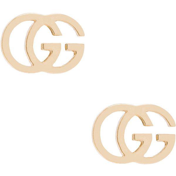 Gucci Running G Stud Earrings ($475) ❤ liked on Polyvore featuring jewelry, earrings, stud earrings, post back earrings, 18k gold earrings, gucci jewelry and gold jewellery