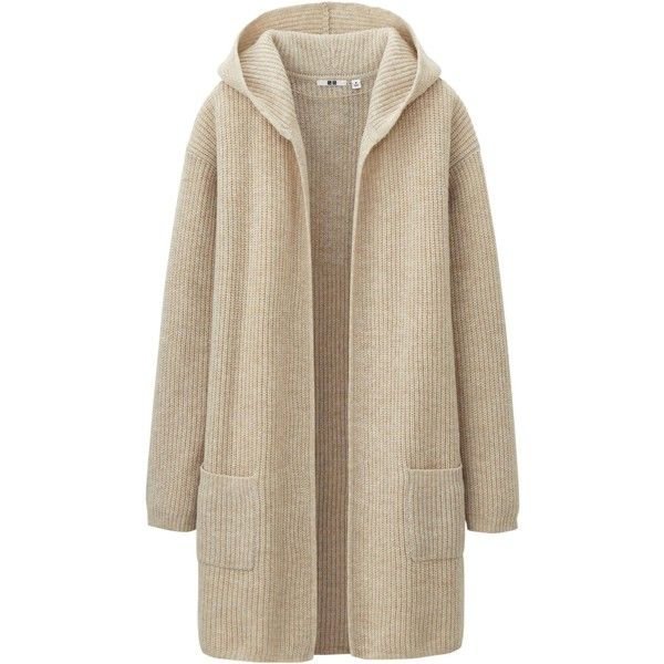 UNIQLO Women Heavy Gauge Sweater Coat (412.590 IDR) ❤ liked on Polyvore featuring outerwear, coats, jackets, sweaters, cardigans, uniqlo, sweater coat, heavy coat, brown coat e brown sweater coat