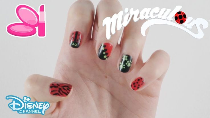 Miraculous | Nail Art Tutorial Inspired by Ladybug & Cat Noir | Official Disney …