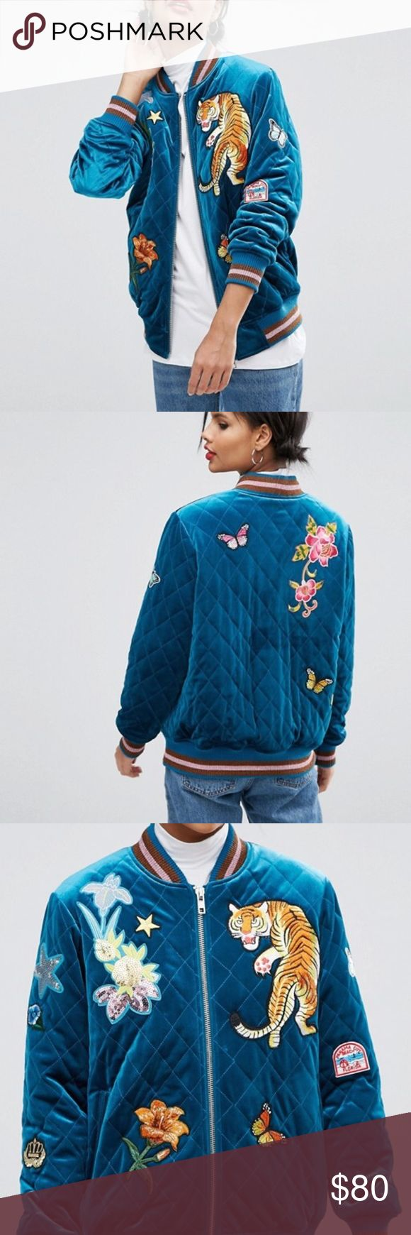 ASOS teal velvet embroidered bomber jacket Brand new with tags. Bomber jacket by ASOS Collection Soft-touch velvet Quilted finish Embroidered detail Baseball collar Zip fastening Functional pockets Ribbed trims Regular fit - true to size Machine wash 93% Polyester, 7% Elastane ASOS Jackets & Coats