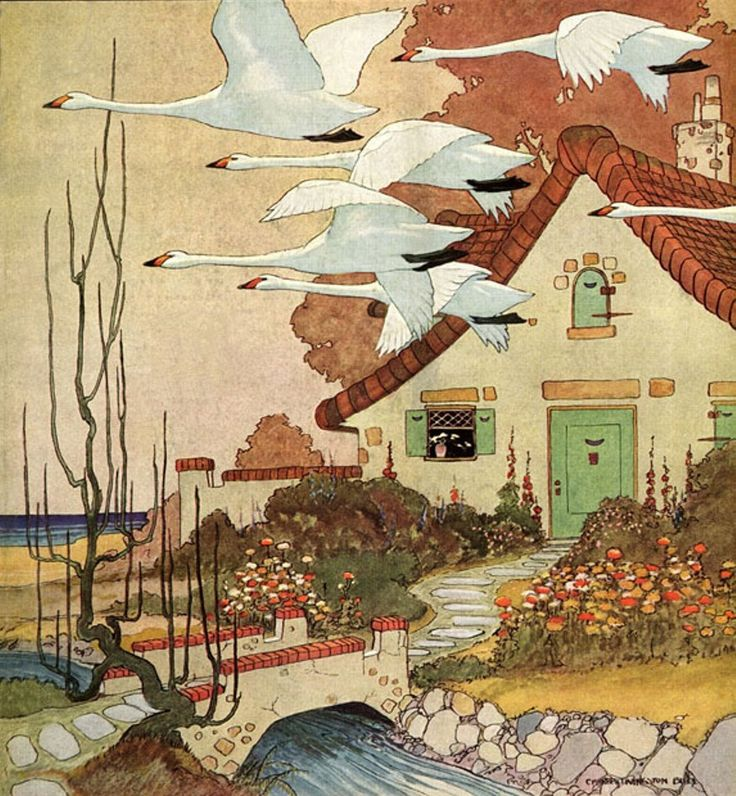 house garden 1920s repinned from vintage magazine covers by lisa vogt - love the swans and the vintage green.