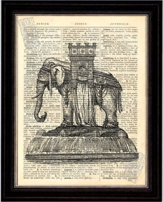 Elephant Fountain at Bastille, Paris Print on Upcycled 1896 Latin English Dictionary Page