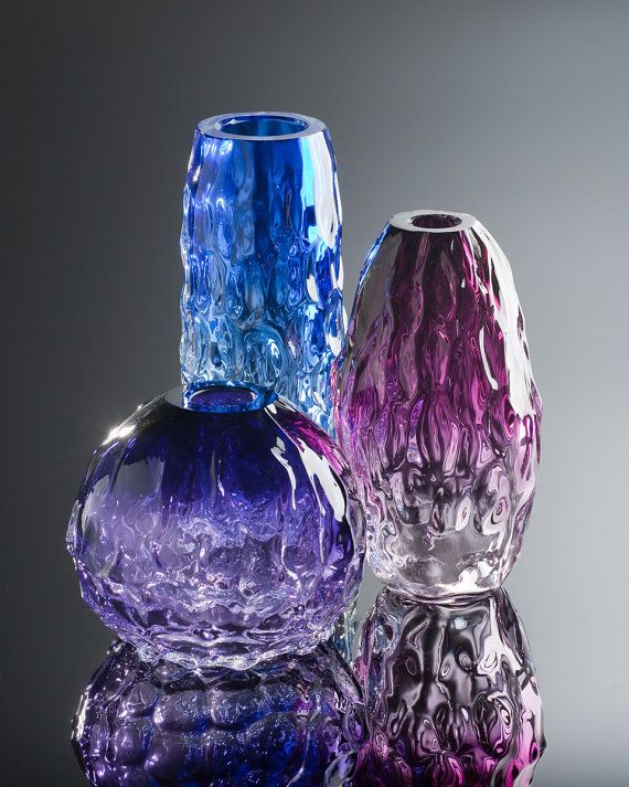 Luxury Blown Glass Vase  Frozen Abstractions  by AvolieGlass, $295.00