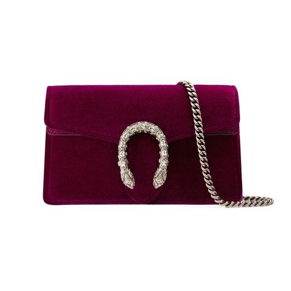Trends for fall 2017: Velvet & Bordeaux  Dionysus Super-Mini-Tasche aus Veloursleder  Eine strukturierte Super-Mini-Tasche aus Samt mit Kette