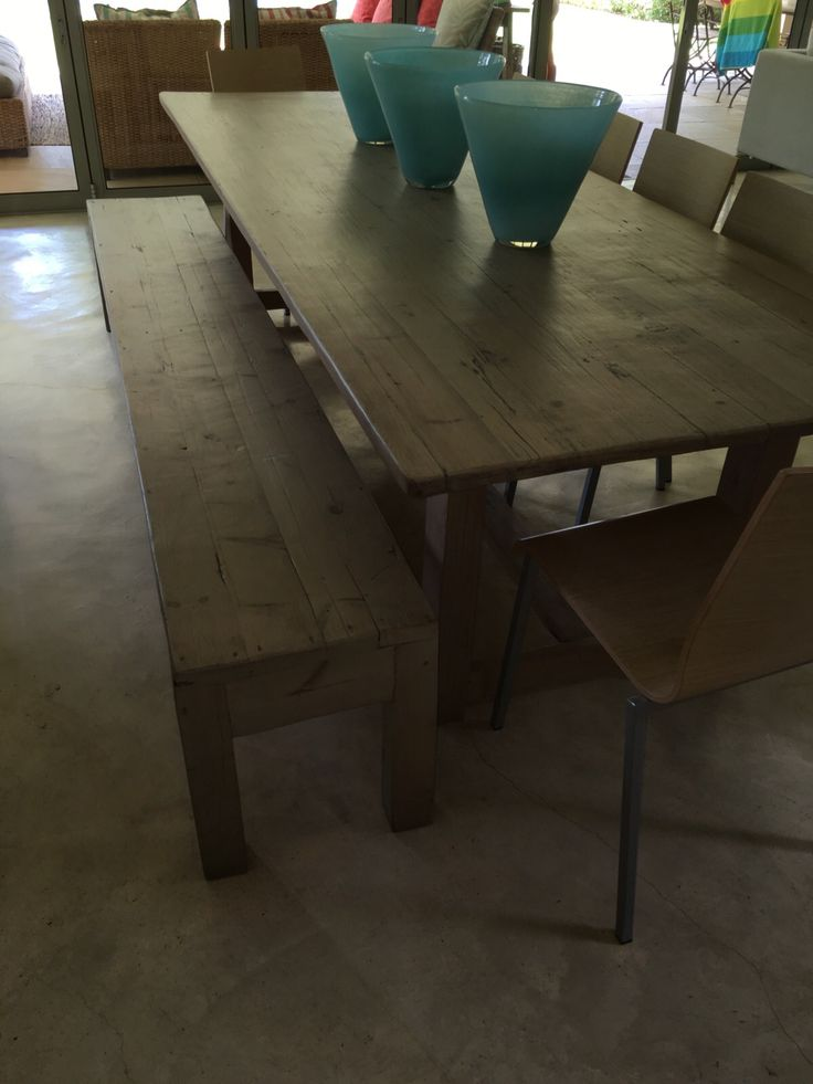 #NorthcliffAntiques Table with t-bar stretcher connecting the legs and bench in a raw-look finish. All items are made from reclaimed wood unless specified otherwise. #Tables #Solid #Wood #Johannesburg