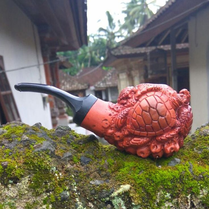 Hand Carved Wooden Tobacco Pipes Sea Turtles Carving Ebonit Stem #13