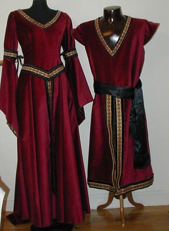 Both male and female outfits, or just a woman's dress and a robe type thing to go with armour
