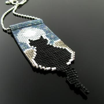 Bead loomed pendant Silhouette Cat - A HeatherCat by CatsWire for $55.00