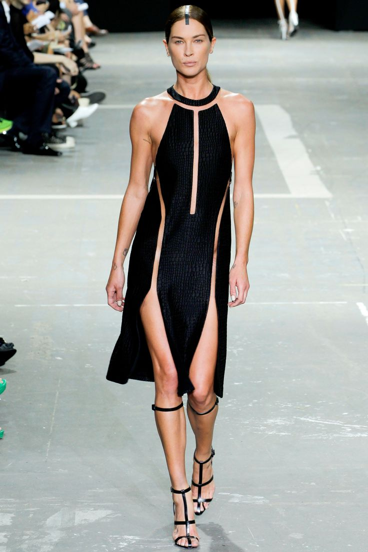 Alexander Wang Spring 2013 RTW, amazing black cut-out dress sporty and sexy-RUNWAY