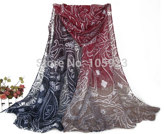 ombre flower scarf  floral shawl soft flower scarf shawl 180cm X 90cm 5 colors 10pcs/lot free ship
