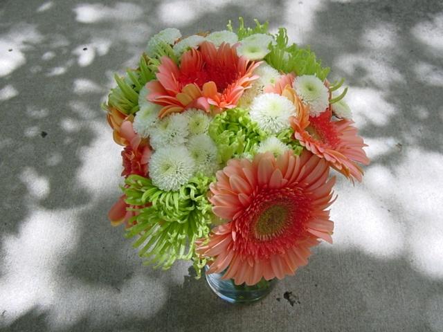 Sarah f bridesmaid bouquet spider mums gerbera daisies