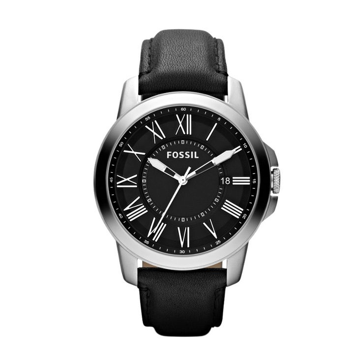 Fossil Grant Leather Watch - Black