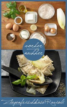 Diese Ravioli müsst Ihr unbedingt nachkochen. So lecker!!! http://eatsmarter.de/rezepte/ziegenfrischkaese-ravioli