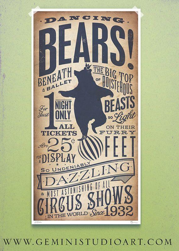 Circus Dancing Bear vintage style childrens by geministudio, $29.00