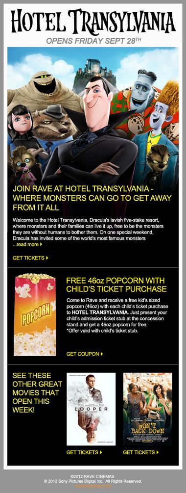 Rave Cinemas: Free popcorn with 'Hotel Transylvania' child's ticket purchase