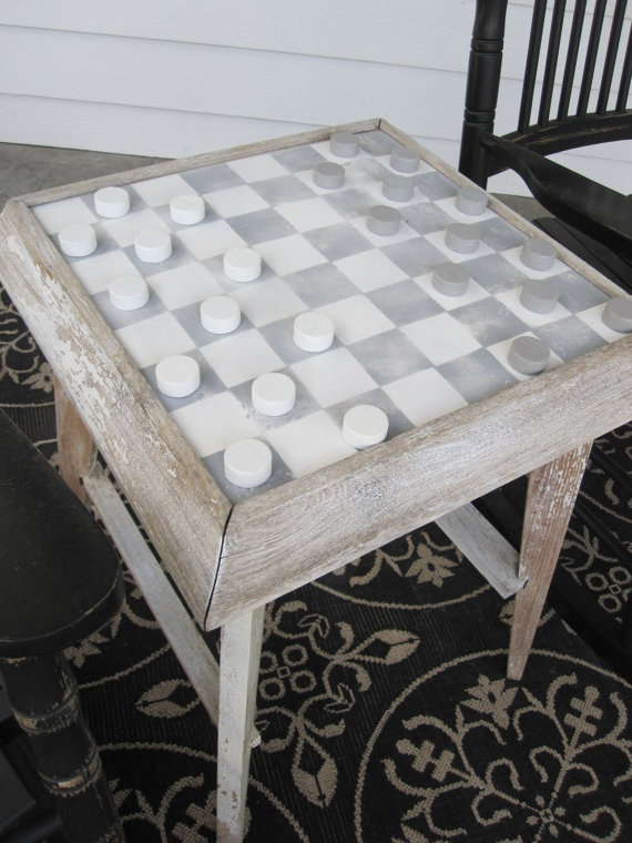 Games on this cool checker board would be great on the front porch $85 at myrtlejane on Etsy
