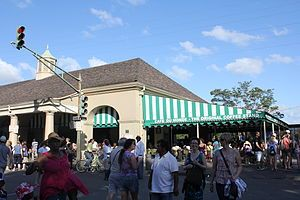 Café du Monde is a coffee shop on Decatur Street in the French Quarter in New Orleans, Louisiana. It is best known for its café au lait and its French-style beignets. In the New Orleans style, the coffee is blended with chicory. It is open 24 hours a day, 7 days a week.