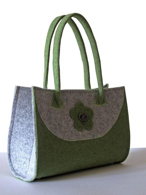 Felt handbag green & gray  Bag felt by MargritliDesign on Etsy, €69.90