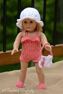 "Crochet Pattern: ""Summer Waves"" 18"" Doll, 4 Piece Set by A Crocheted Simplicity…"